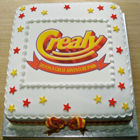 Corporate Cake with Edible Logo Stars & Ribbon