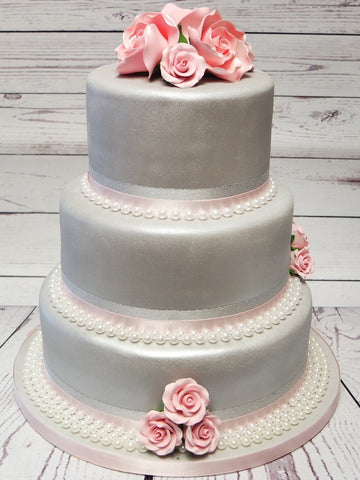 Grey & Pink Sparkle Wedding Cake