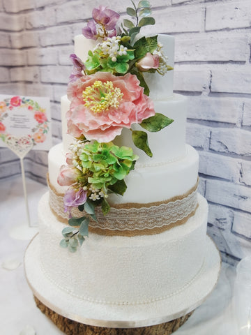 Hand-crafted Flowers with Hessian Wedding Cake