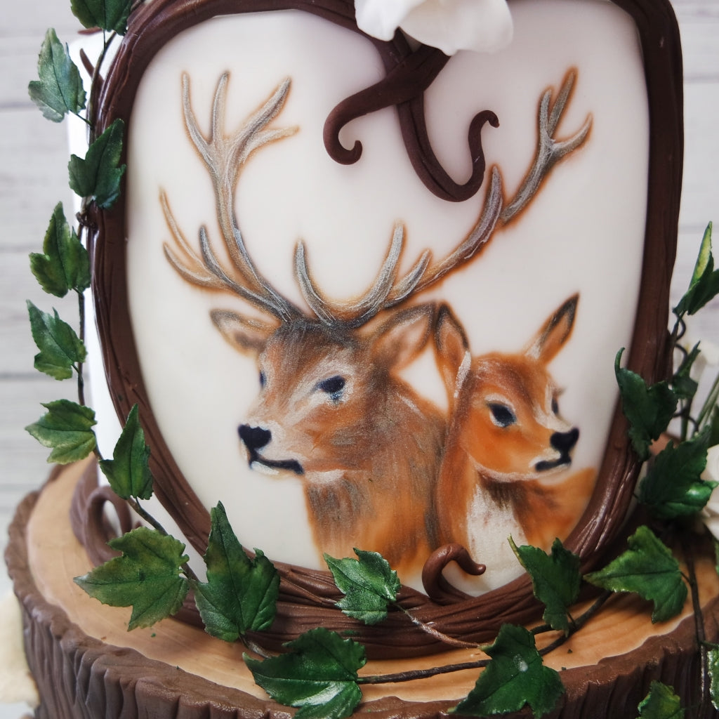 Hand-painted Woodland Theme Wedding Cake