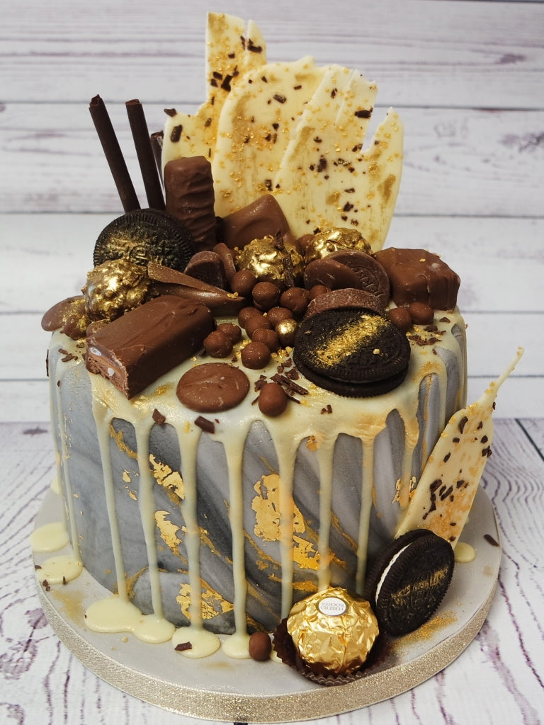 Crafty Cakes Exeter Uk Marble Chic Gold Leaf Drip Cake