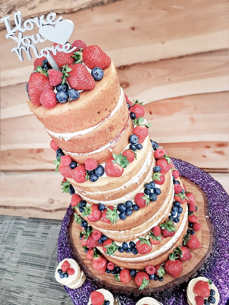 Naked Wedding Cake with Fresh Summer Fruits