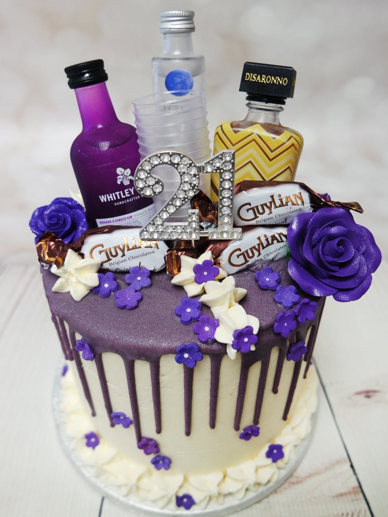 Crafty Cakes Exeter Uk Purple Gin Amp Friends Drip Cake
