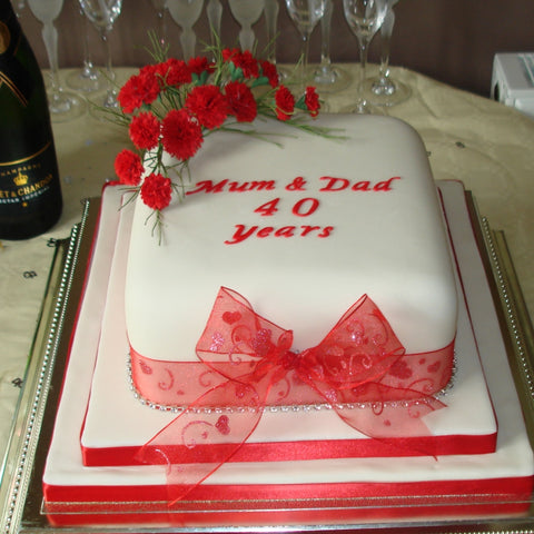 Ruby Wedding Anniversary Cake with Sugar Flower Spray