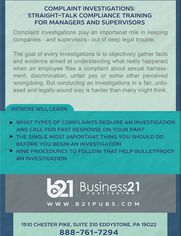 Complaint Investigations: Straight-Talk Compliance Training for Managers and Supervisors