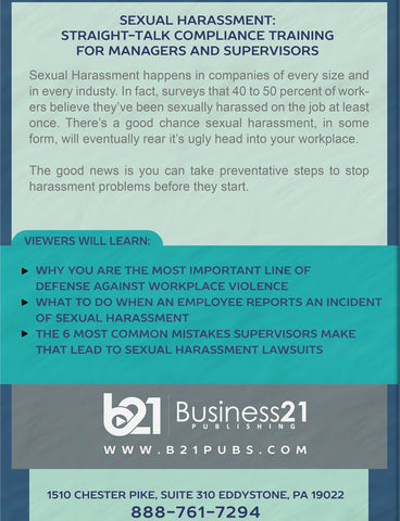 Sexual Harassment: Straight-Talk Compliance Solutions for Managers and Supervisors