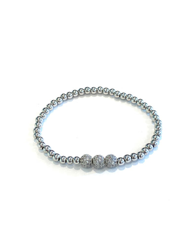 Millie Three Ball Silver Beaded Bracelet