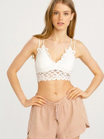 White Lace Bralette with Adjustable Straps