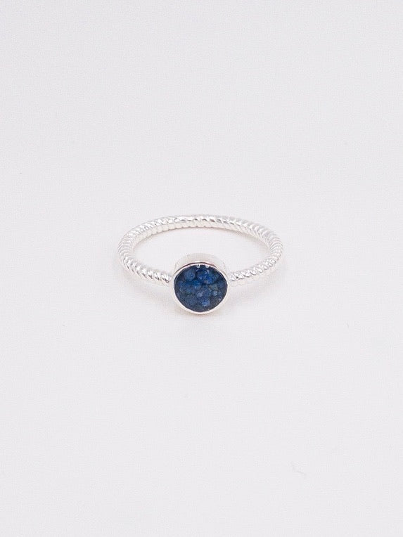 Dune Twisted Lapis Round Ring