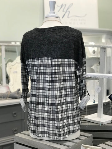 Plaid Back and Sleeves Scoop Neck
