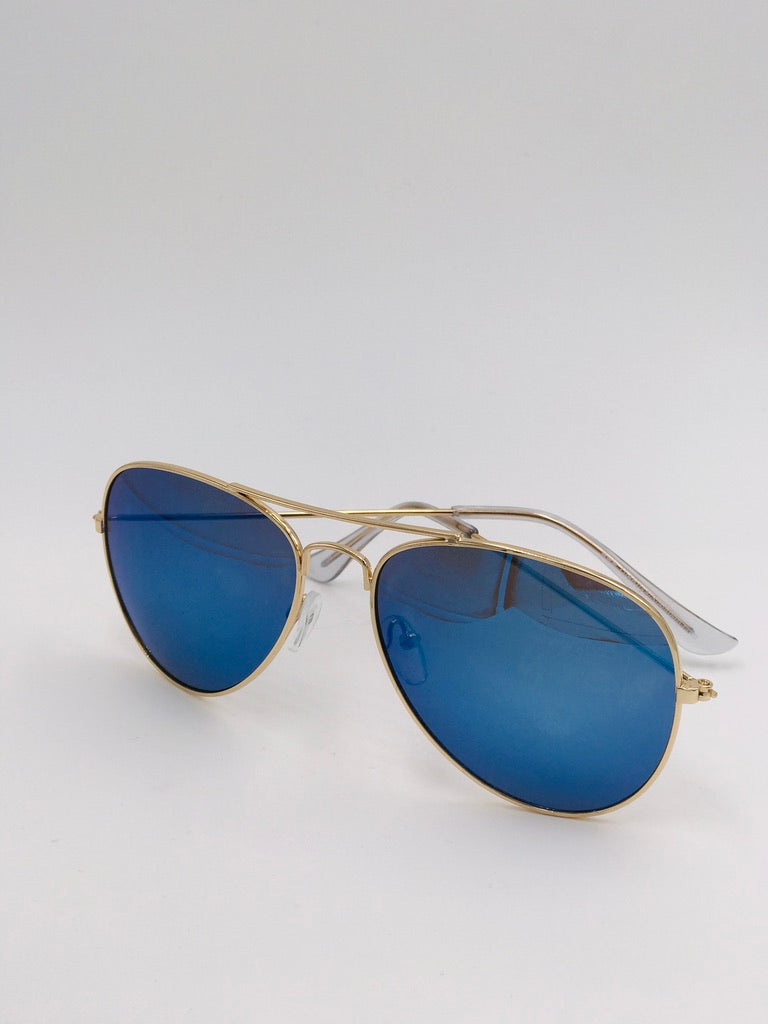 Tyndall Aviator Sunglasses in Gold/Blue