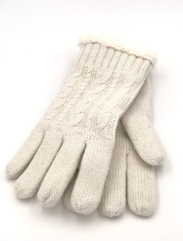 Harriet Sherpa Gloves in Ivory. CLEARANCE. FINAL SALE.