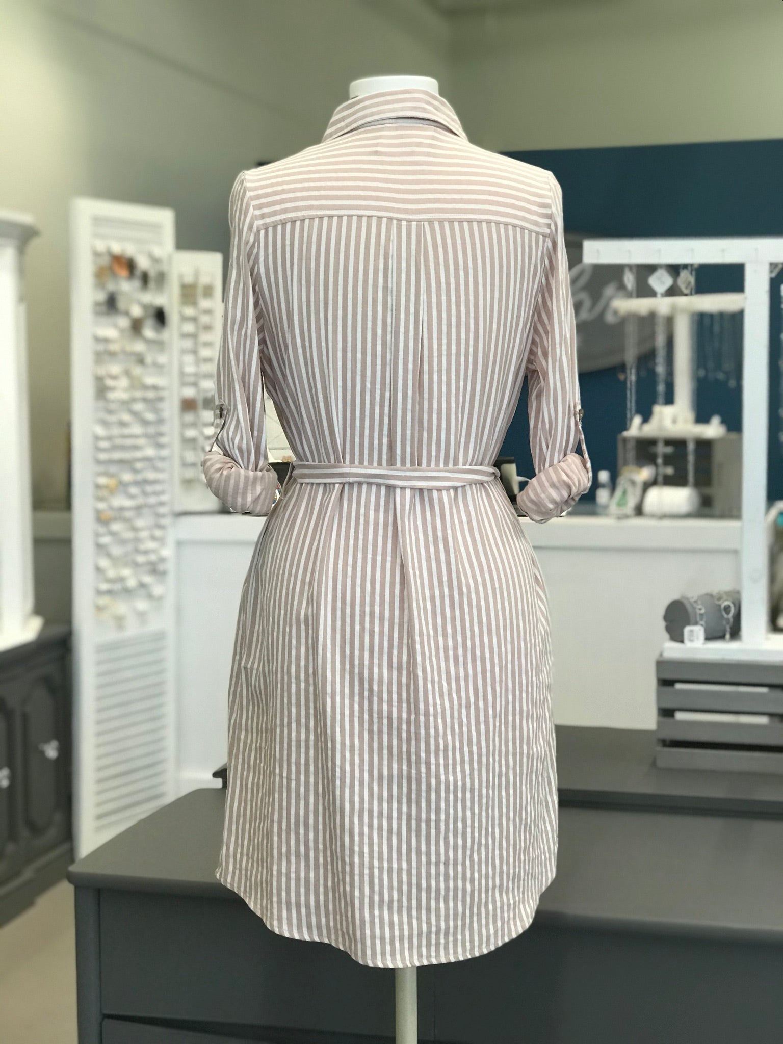 Sami Blush and White Striped Dress