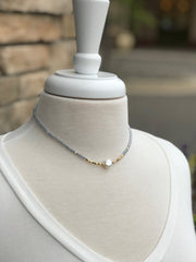 Zoey Blue Beaded Choker with a Pearl
