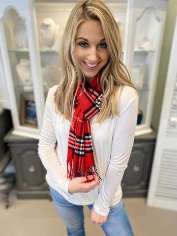 Cardi Red plaid scarf