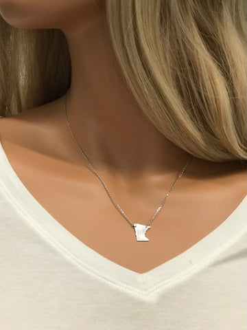 Silver Minnesota State Shape Necklace