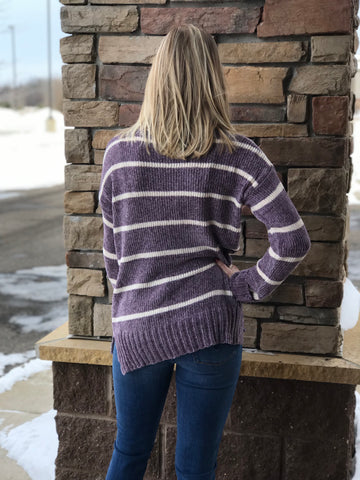 Crista Purple Cowl Neck Sweater