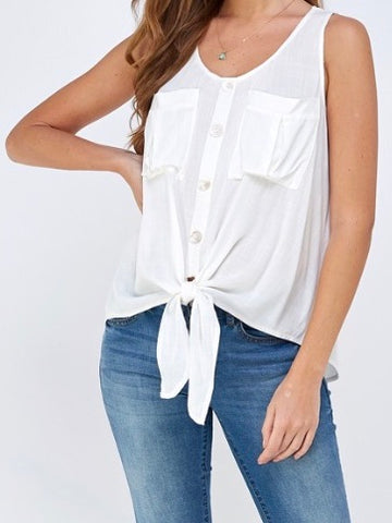 Lauren Button Up Tank with Tie in Ivory