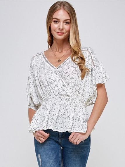 Marry Polka Dot Flow Cross Top