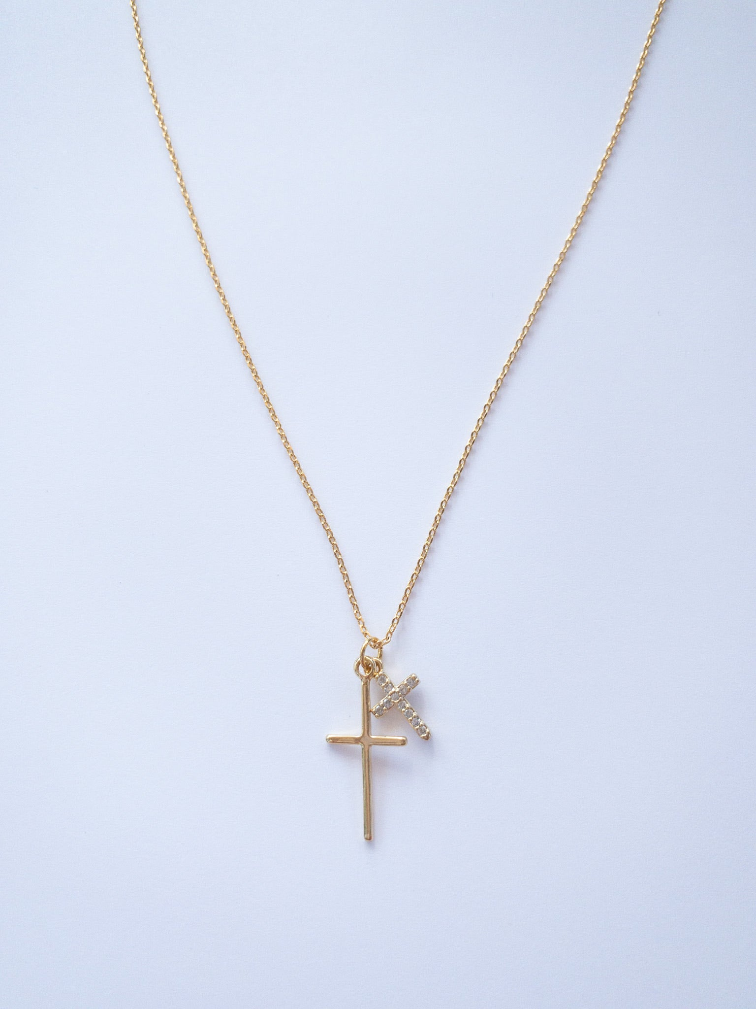 Sarah Cross Necklace in Gold