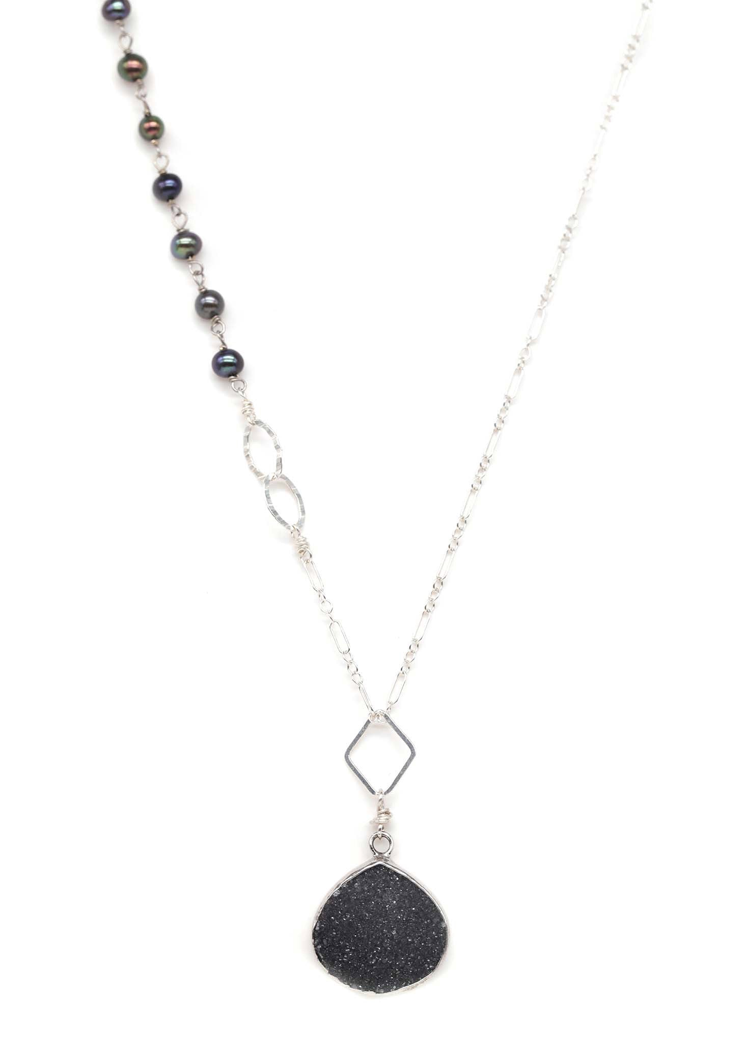 Dark Midnight Druzy necklace