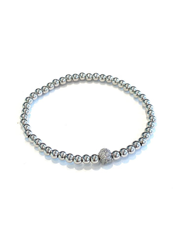 Millie Silver Beaded Stretch Bracelet