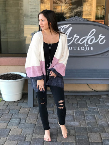 Color Block Pattern Ivory, Light Lilac, & Charcoal Cardigan