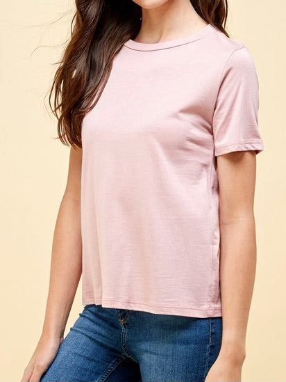 Sharaya Round Neck Tee - Rose