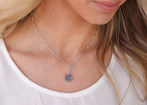 Valencia necklace - midnight druzy