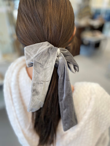 Verna Velvet Scrunchie in Silver