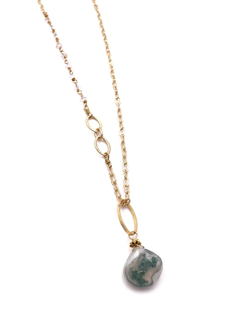 Moss Agate Pendant on Matte Gold Chain