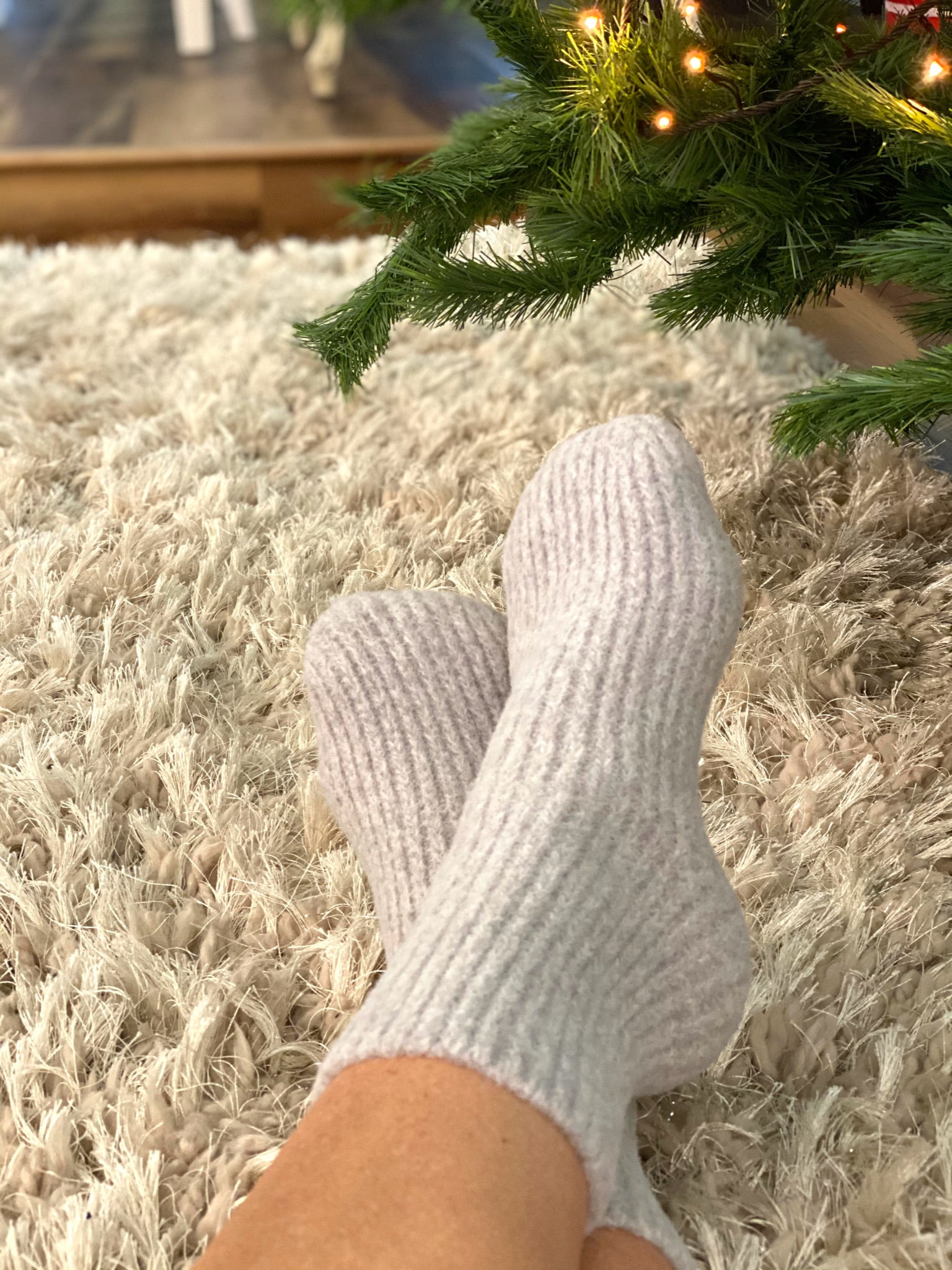 Trisha Gray Ribbed Cozy Socks