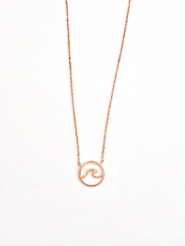Dainty Wave Necklace in Rose Gold