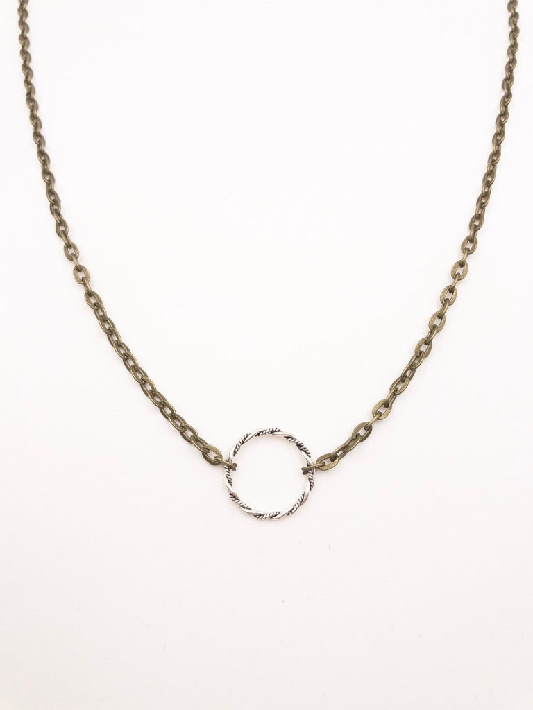 Ruth Antique Metal Necklace with Twisted Ring