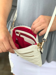 White Quilted Roxy Purse