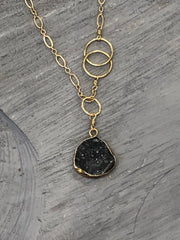 Druzy Pendant nh Necklace in Gold