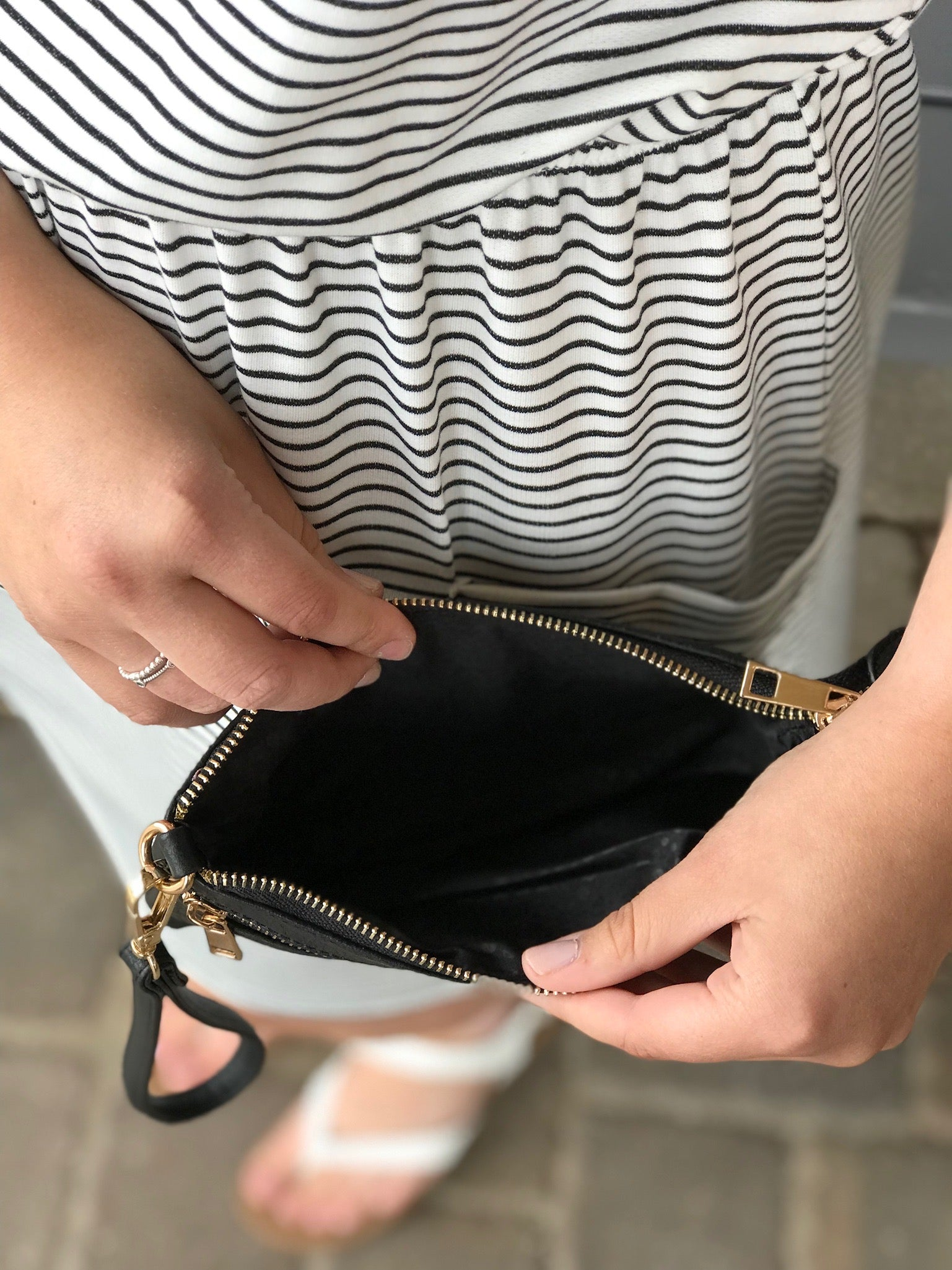 Black Wristlet with Front Zipper