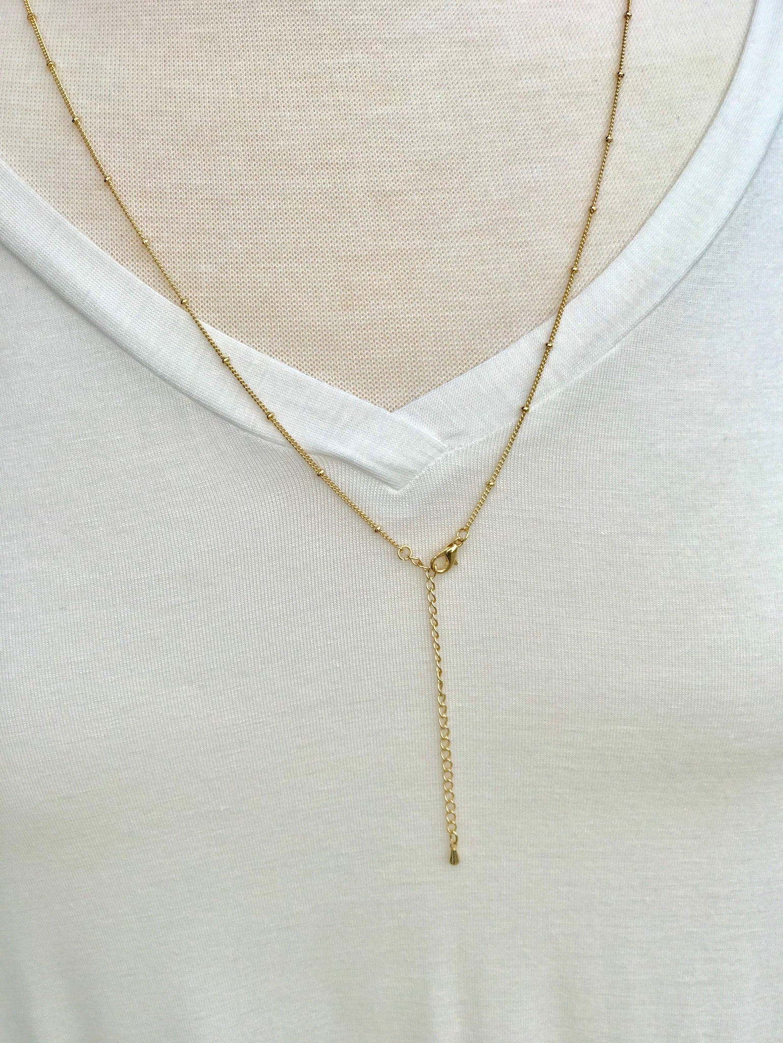 Long Gold Ella Necklace with Beaded Pendant