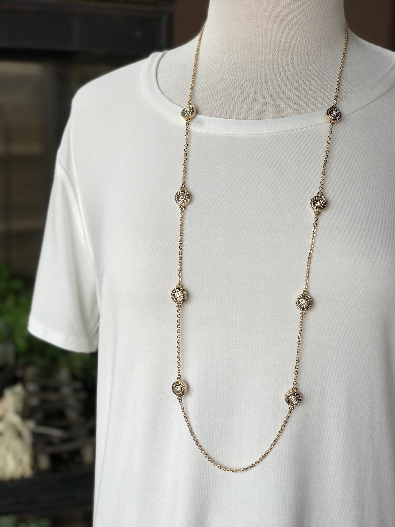 London Long Gold Necklace with Gold and Silver Circle Pendants