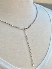 Long Silver Beaded Elena Necklace with Pearls