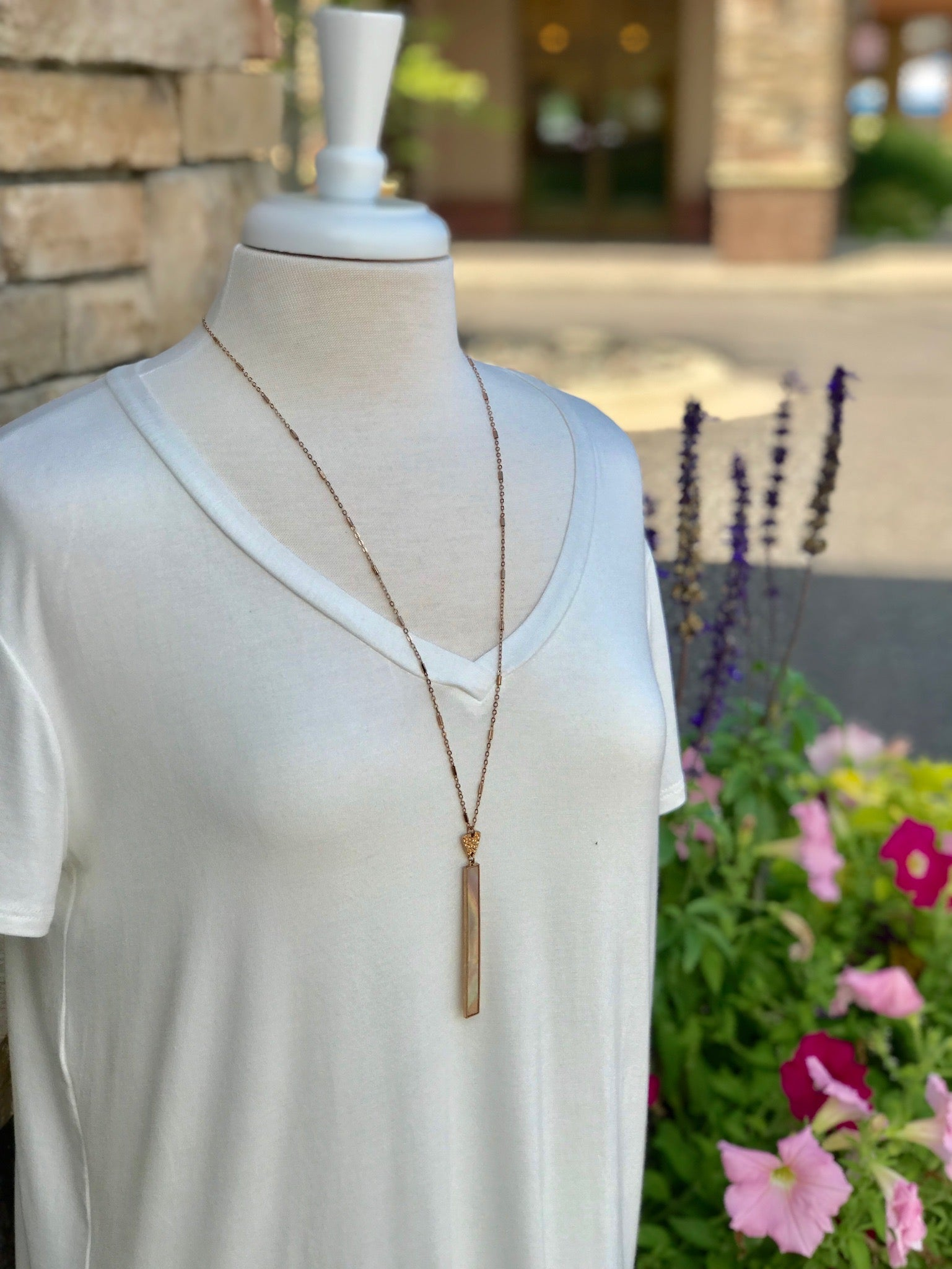 Long Gold Harper Necklace with Pearl Detailed Pendant