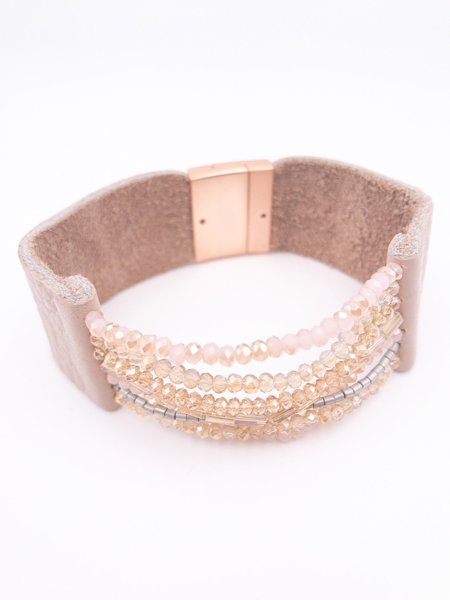 Rose gold blush beaded leather bracelet