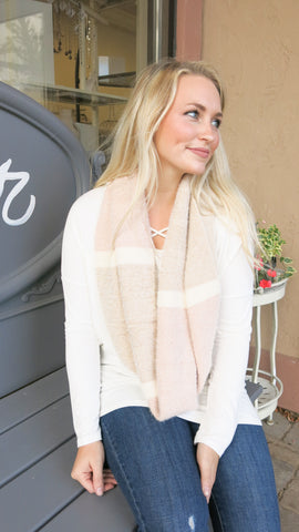 Adorable Blush/ Tan Infinity Scarf