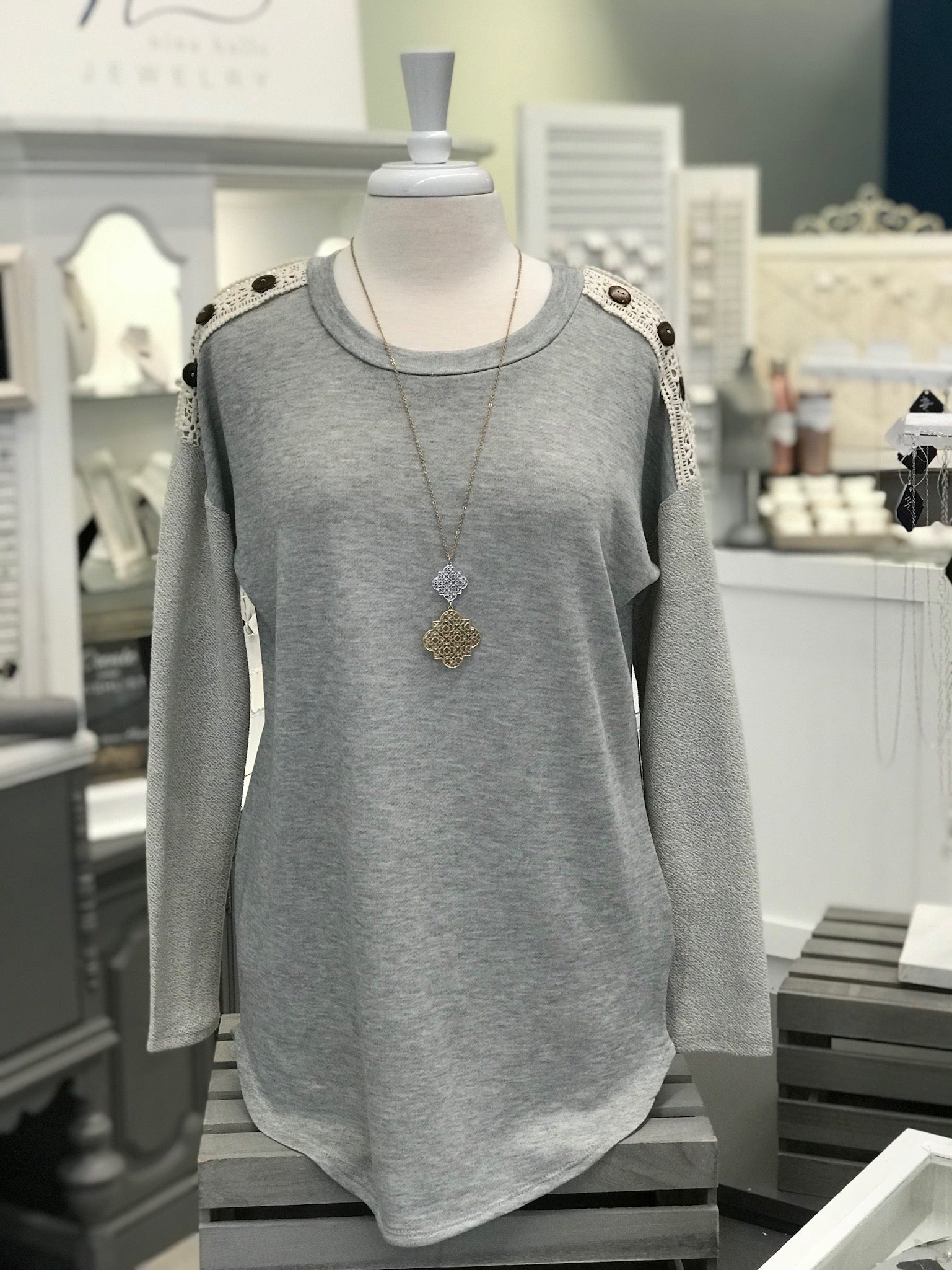 Heathered Grey Long Sleeve with Elbow Patches