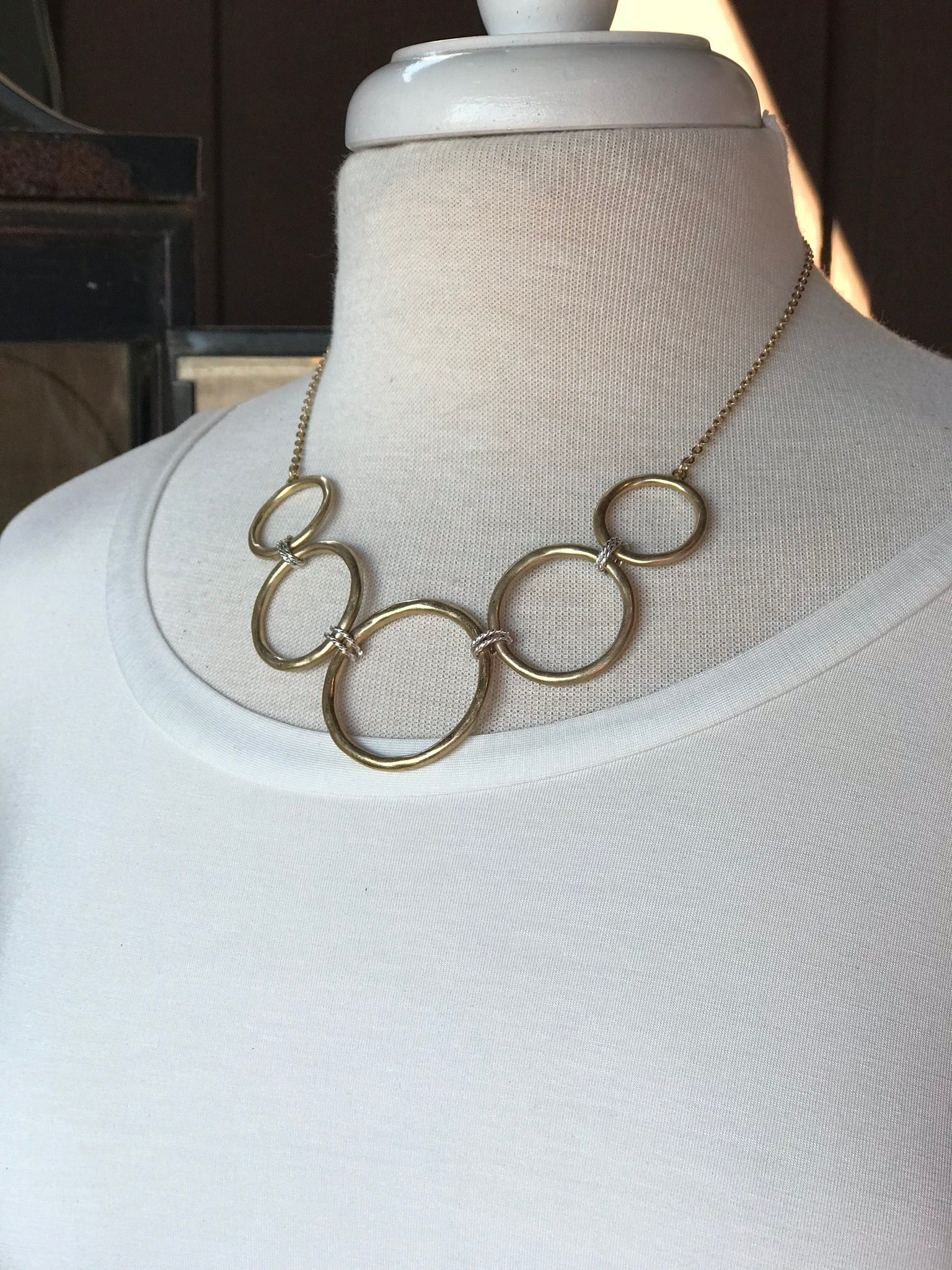 Natalie Gold Circle Necklace with Silver Detail