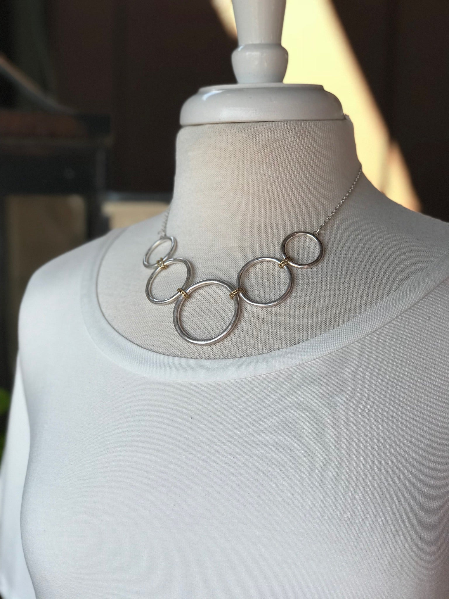 Natalie Silver Circle Necklace with Gold Detail