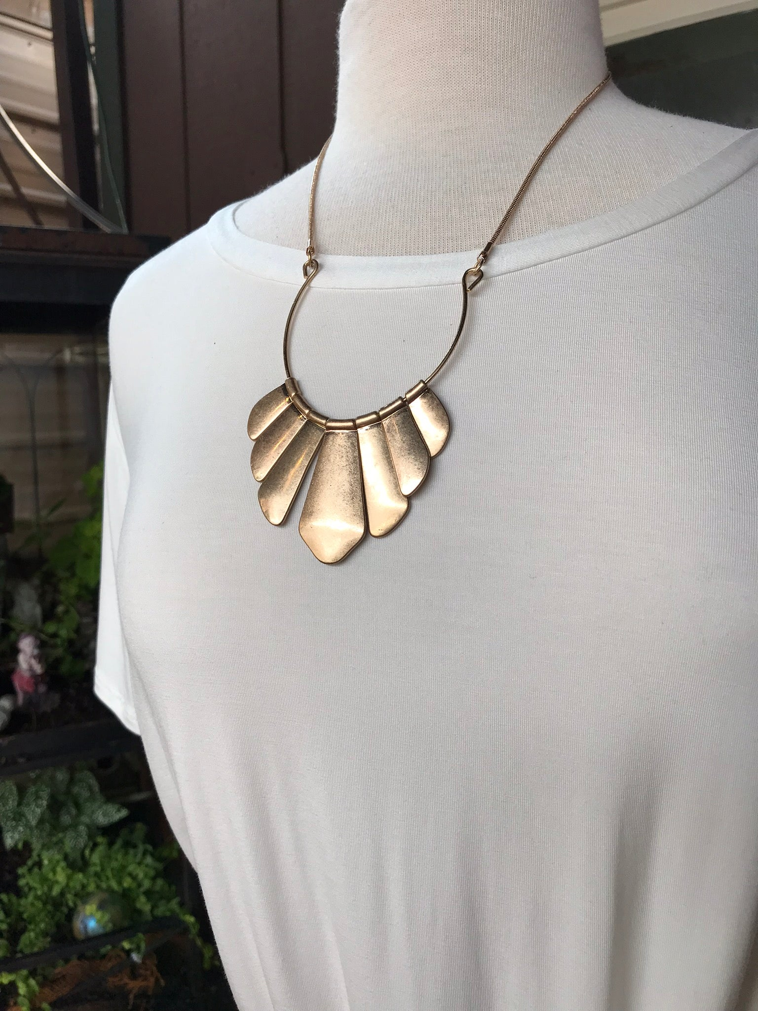 Charlotte Gold Fan Shaped Statement Necklace