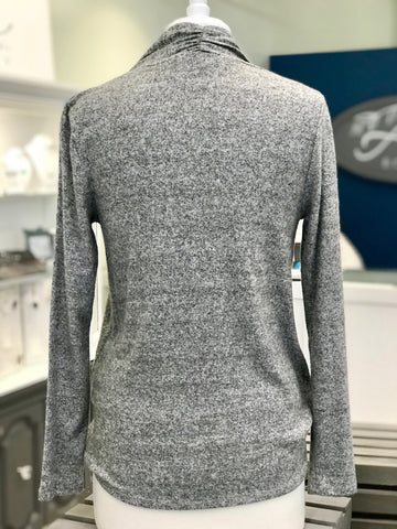 Grey Long Sleeve Sweater with Opening in Front