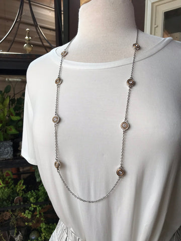 London Long Silver Necklace with Gold and Silver Circle Details