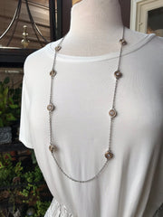 London Long Silver Necklace with Gold and Silver Circle Pendants